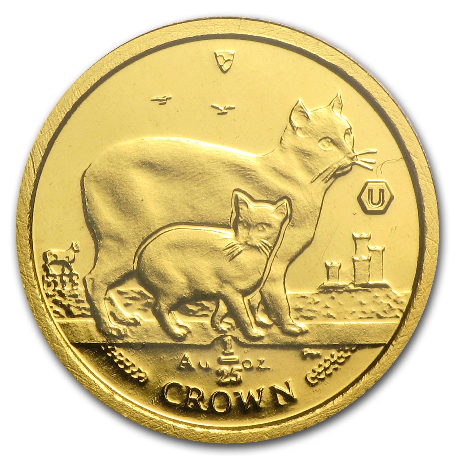 2012 Isle of Man 1/25 Crown Gold Manx Cat BU